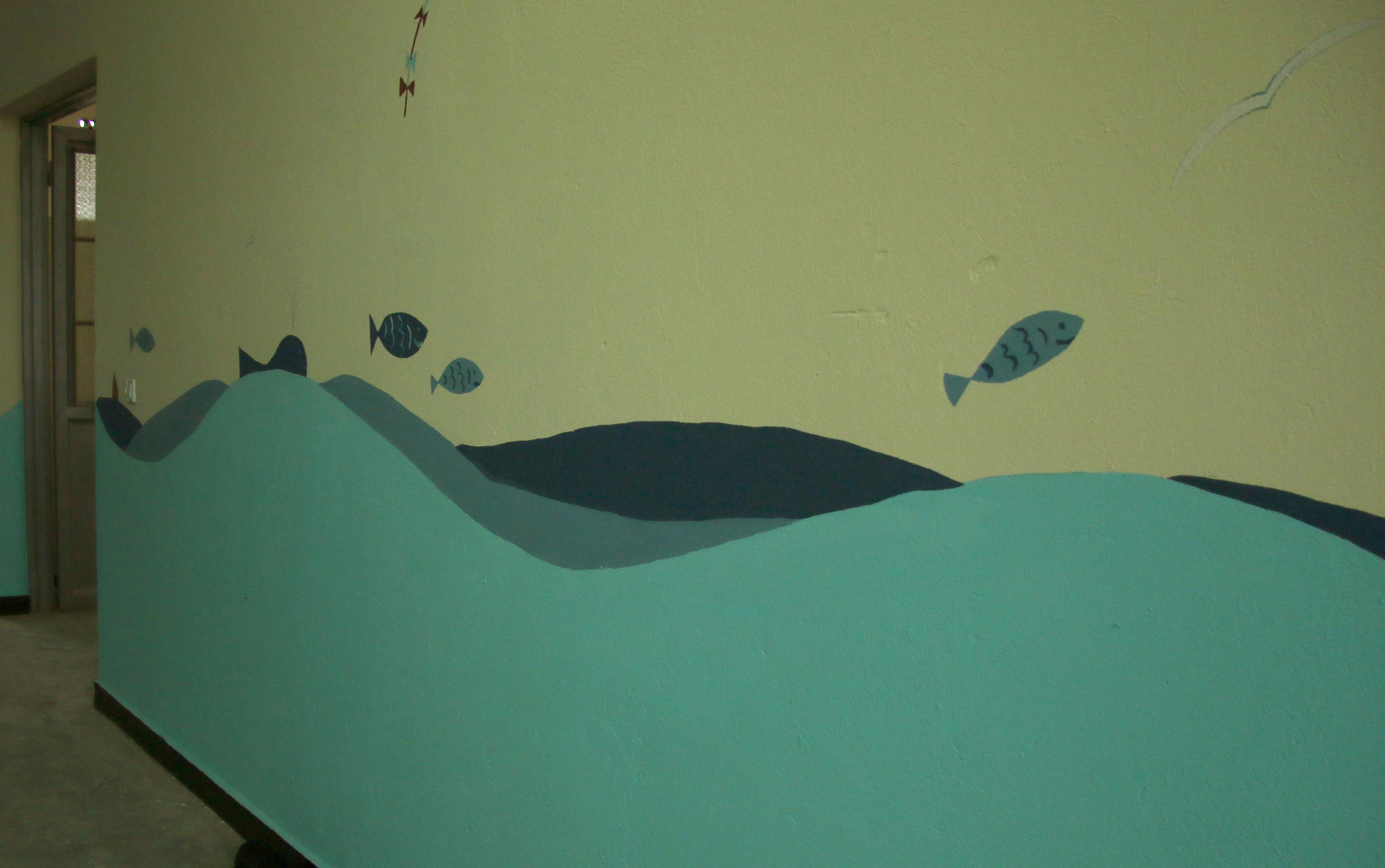 Wandmalerei in einem Schlafsaal